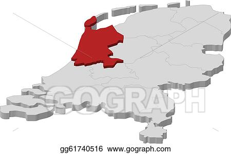 Vector Illustration Map of netherlands north holland