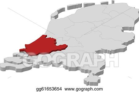 Niederlande Karte Umriss.Vector Stock Map Of Netherlands South Holland Highlighted