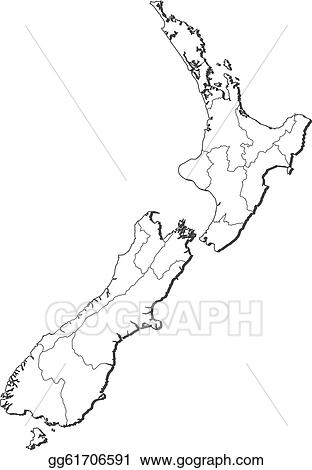 Neuseeland Karte Schwarz Weiß.Vector Illustration Map Of New Zealand Stock Clip Art Gg61706591
