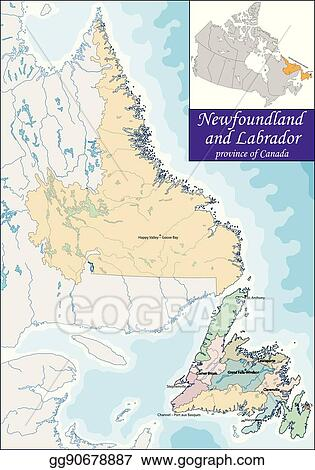 Vector Art - Map of newfoundland and labrador. Clipart Drawing ...