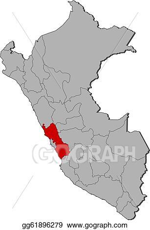 Peru Karte Umriss.Vector Art Map Of Peru Lima Highlighted Clipart Drawing