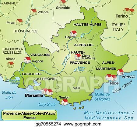EPS Illustration - Map of provence-alpes-cote d azur. Vector Clipart ...