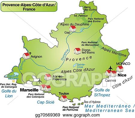 Provence Map Of France.Eps Illustration Map Of Provence Alpes Cote D Azur Vector Clipart