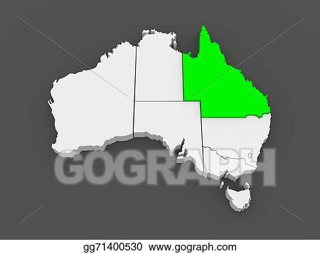Map Of Queensland Australia.Clip Art Map Of Queensland Australia Stock Illustration