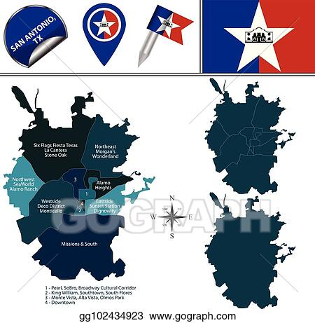 Vector Stock - Map of san antonio with neighborhoods. Clipart ...