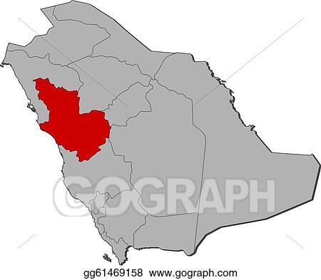 Clip Art Vector Map Of Saudi Arabia Al Madinah Highlighted Stock