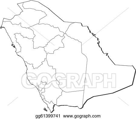 Vector Art Map Of Saudi Arabia Clipart Drawing Gg61399741 Gograph