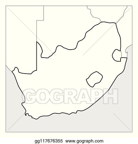 Vector Stock Map Of South Africa Black Thick Outline Highlighted