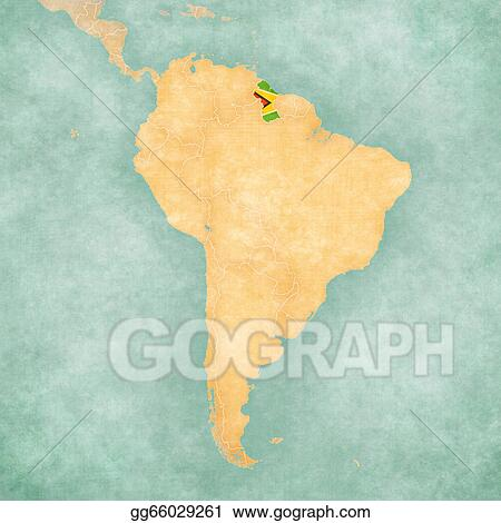 Drawing - Map of south america - guyana (vintage series). Clipart ...