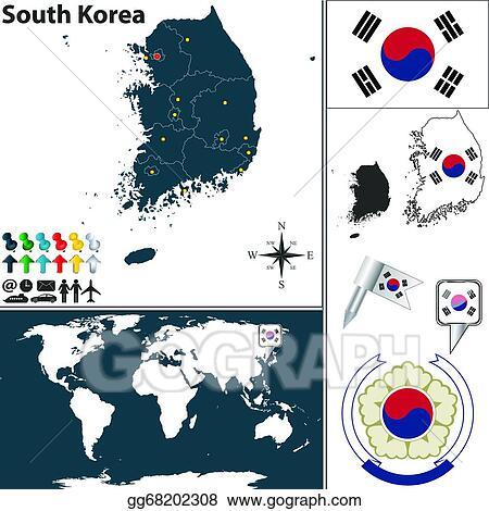 EPS Illustration - Map of south korea. Vector Clipart ...