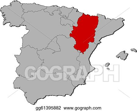 Clip Art Vector Map Of Spain Aragon Highlighted Stock Eps