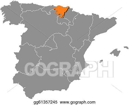 Country Of Spain Map.Vector Illustration Map Of Spain Basque Country Highlighted