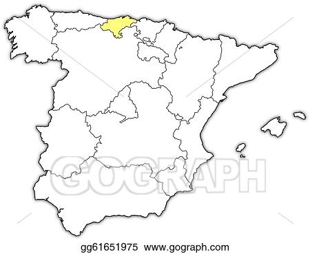 Map Of Spain Drawing.Vector Art Map Of Spain Cantabria Highlighted Clipart