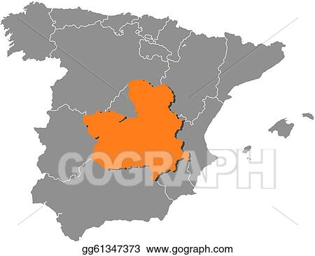 Map Of Spain La Mancha.Eps Vector Map Of Spain Castile La Mancha Highlighted Stock