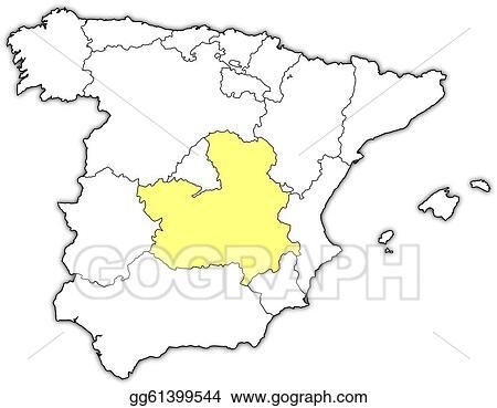 La Mancha Spain Map.Eps Vector Map Of Spain Castile La Mancha Highlighted Stock