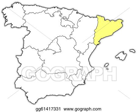 Map Of Spain With Catalonia Highlighted.Eps Vector Map Of Spain Catalonia Highlighted Stock