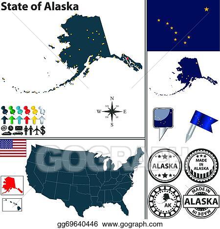 Vector Illustration - Map of state alaska, usa. Stock Clip ...