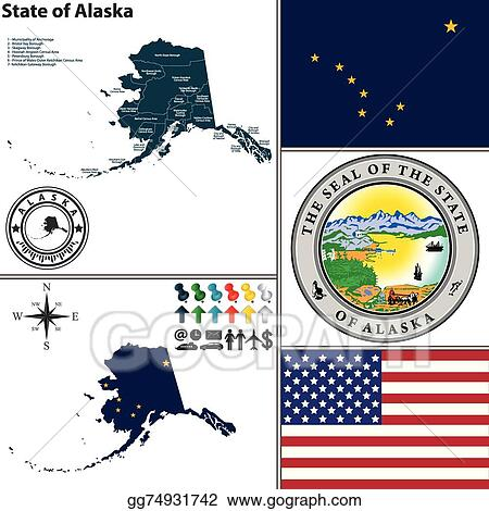 Vector Illustration - Map of state alaska, usa. Stock Clip Art ...