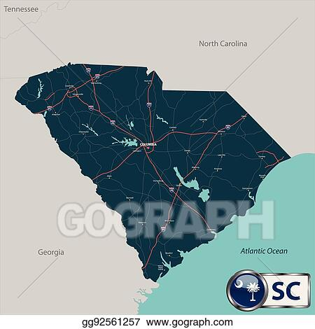Vector Illustration - Map of state south carolina, usa. EPS Clipart ...