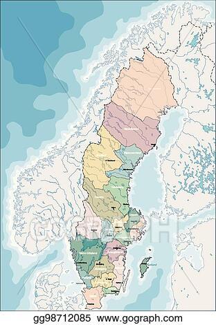 Vector Illustration Map Of Sweden Stock Clip Art Gg98712085 Gograph