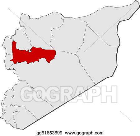 EPS Illustration - Map of syria, hama highlighted. Vector ...