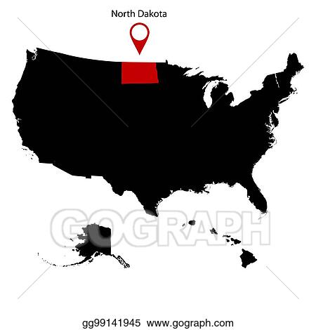 Vector Stock - Map of the u. s. state of north dakota ...