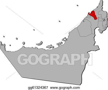 Clip Art Vector Map of the united arab emirates umm alquwain