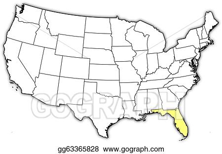 Vector Art - Map of the united states, florida highlighted ...