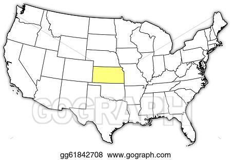 Vector Illustration - Map of the united states, kansas ...
