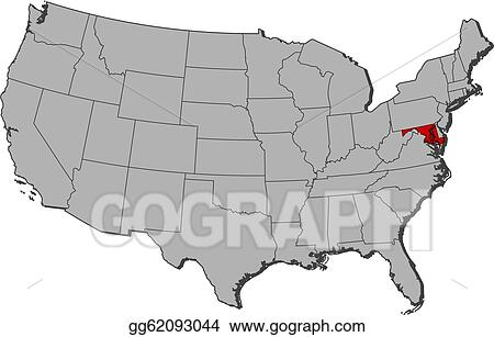Vector Illustration - Map of the united states, maryland highlighted ...