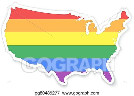 Map Of America Clipart.Eps Illustration Map Of The United States Of America In Lgbt Flag