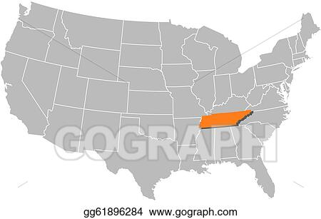 EPS Illustration - Map of the united states, tennessee ...