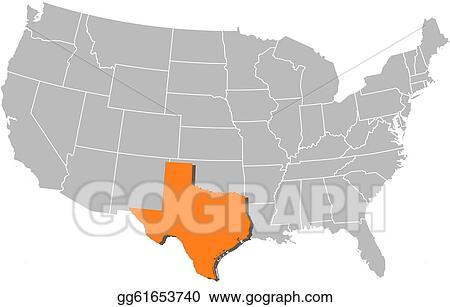 Vector Stock - Map of the united states, texas highlighted. Clipart ...