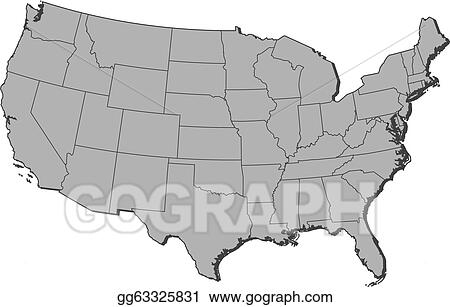 Vector Clipart - Map of the united states, washington, d. c. ...