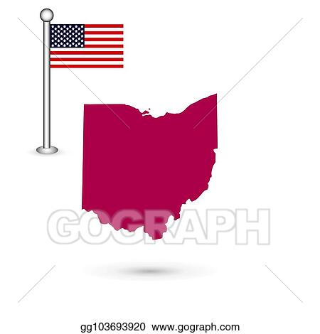 Ohio On State Map.Clip Art Vector Map Of The U S State Of Ohio On A White