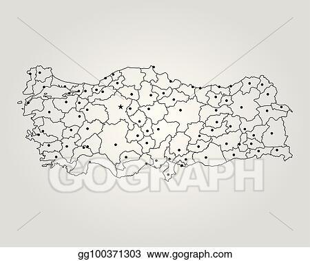 Vector Illustration - Map of turkey. Stock Clip Art gg100371303 ...