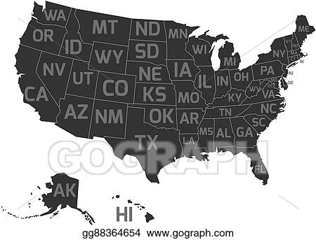 Vector Clipart - Map of usa with state abbreviations. Vector ... on nc map clip art, nyc map clip art, maine map clip art, va map clip art, connecticut map clip art, wv map clip art, sc map clip art, north dakota map clip art, az map clip art, tn map clip art, ca map clip art,