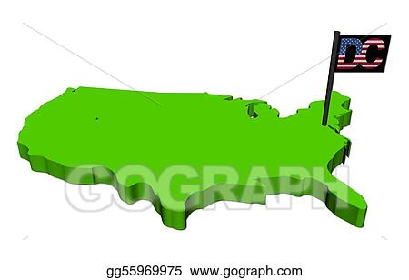 Clipart Map of usa with washington dc text american flag