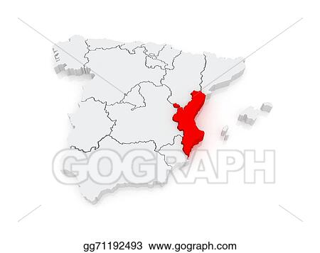 Map Of Spain Valencia.Clipart Map Of Valencia Spain Stock Illustration Gg71192493