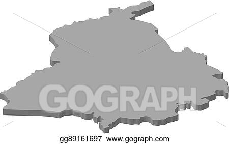Vector Art - Map - punjab (india) - 3d-illustration  Clipart