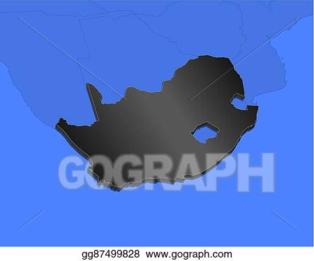 Map Of Africa 3d.Vector Clipart Map South Africa 3d Illustration Vector
