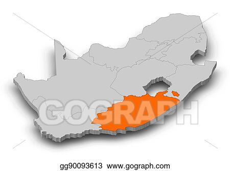 Stock Illustrations Map South Africa Eastern Cape 3d