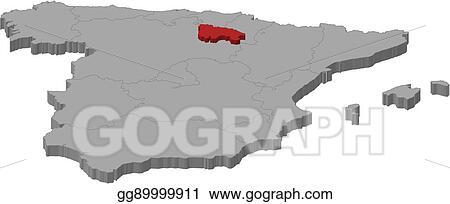 Map Of Spain Rioja.Vector Art Map Spain La Rioja 3d Illustration Eps Clipart