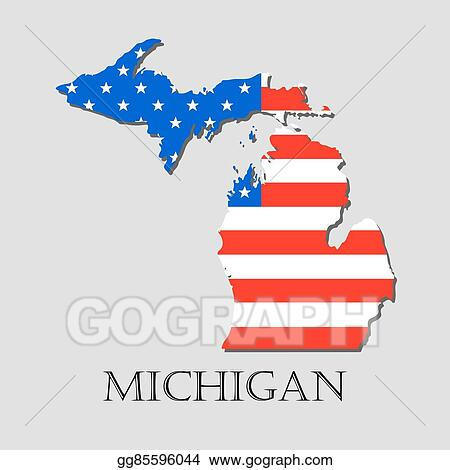 American Map Vector.Eps Vector Map State Of Michigan In American Flag Vector