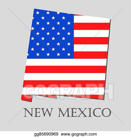 American Map Vector.Vector Art Map State Of New Mexico In American Flag Vector