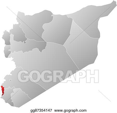 Vector Stock - Map - syria, quneitra. Clipart Illustration ...