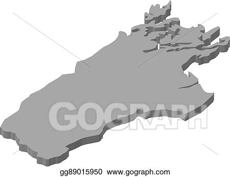 3d Map Of New Zealand.Vector Illustration Map Tasman New Zealand 3d Illustration