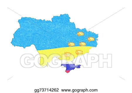 Stock Illustration - Map ukraine map with small fires. Clipart ...