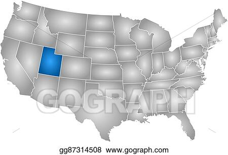 EPS Vector - Map - united states, utah. Stock Clipart ...
