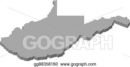 Virginia United States Map.Vector Illustration Map West Virginia United States 3d